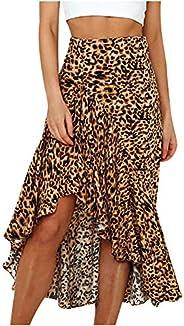 Women's Casual Ruffle High Split Skirt Summer Leopard Print Skirt Flowy Asymmetrical Sk