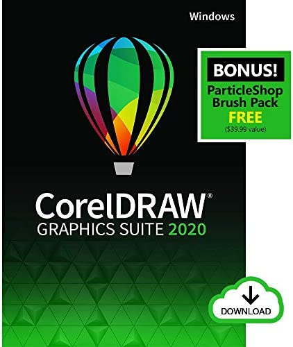 CorelDRAW Graphics Suite 2020 | Graphic Design, Photo, and Vector Illustration Software | Amazon Exclusive includes Free ParticleShop Brush Pack [PC Download]