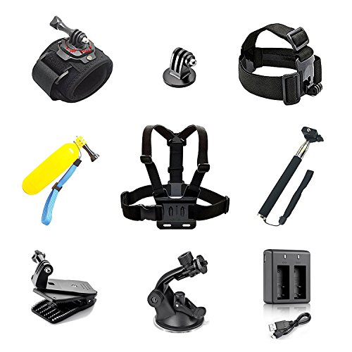 Aokon 10 in 1 Sports Action Camera Accessory Bundle Kits For Gopro Hero Sports Camera - Head Strap Chest Belt + Folating Handle + Selfie Stick + Wrist Strap + Car Mount + Dual Battery Charger