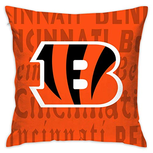 (Virsa Custom Colorful Cincinnati Bengals Pillow Covers Standard Size Throw Pillow Cases Decorative Cotton Pillowcase Protecter Zipper - 18x18)