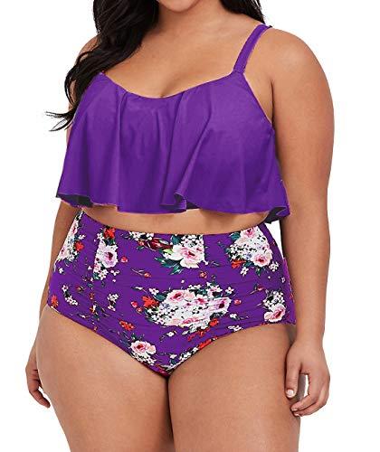 Womens Plus Size High Waisted Swimsuit Floral Bikini Ruffle Flounce Two Piece Swimwear Monokini (4X, Z-Purple)