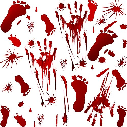 Jetec 68 Pieces Bloody Footprints Floor Clings Decors