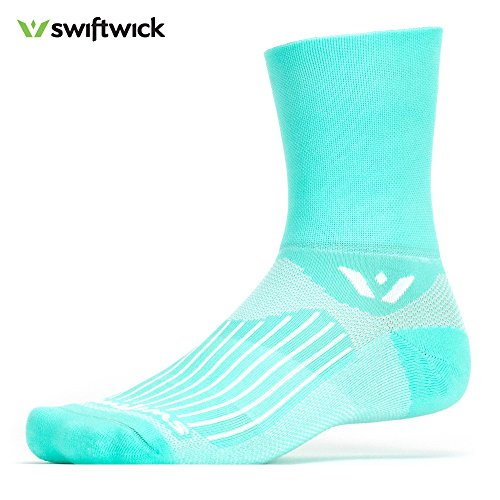 Swiftwick ASPIRE FOUR, Quarter Crew Socks for Cycling and Trail Running, Mint, Medium