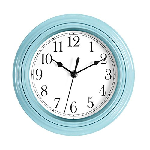 (Foxtop 9 inch Quartz Decorative Modern Clock Silent Non Ticking Battery Operated Wall Clock for Girls Kids Kitchen Classroom Nursery Room Easy to Read,)