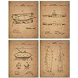 Submarine Patent Prints - Set of Four Vintage Sub Wall Art Decor Photos