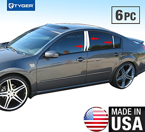 Made in USA! Works with 2004-2008 Nissan Maxima 6 PC Stainless Steel Chrome Pillar Post Trim