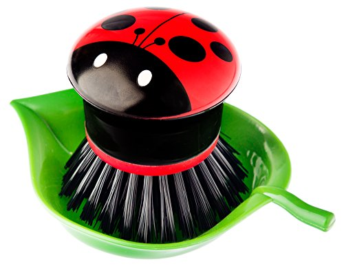 Vigar Ladybug Palm Dish Brush With Holder, 5-3/4-Inches by 3-3/4-Inches, Black, Red, White, Green