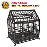 Haige Pet Your Pet Nanny Heavy Duty Dog Crate Cage Kennel Strong Metal for Large Dogs, Easy to Assemble Pet Playpen with Patent Lock & Four Wheels