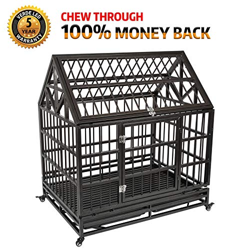 Haige Pet Your Pet Nanny Heavy Duty Dog Crate Cage Kennel Strong Metal for Large Dogs, Easy to Assemble Pet Playpen with Patent Lock & Four Wheels by Haige Pet Your Pet Nanny (Image #7)
