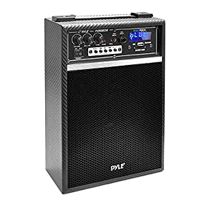 Pyle PWMAB250BK 300 Watt Bluetooth 6.5'' Portable PA Speaker System with Built-in Rechargeable Battery, Wired Microphone & FM Radio