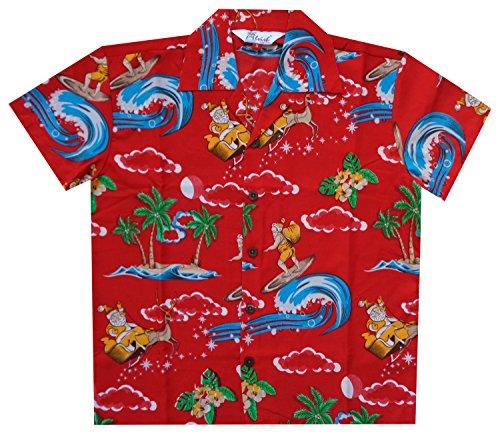 Alvish Hawaiian Shirts Boys Christmas Santa Beach Party Short Sleeve Holiday Casual