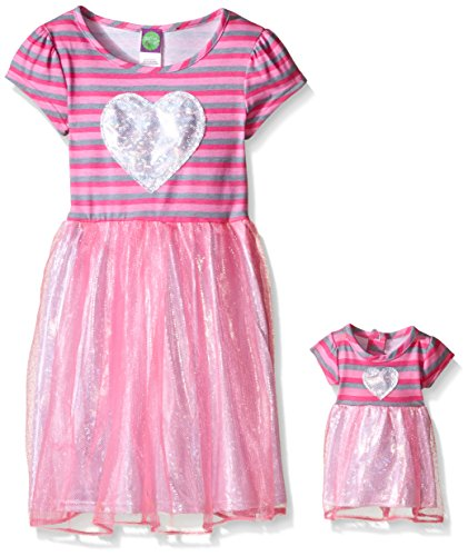 Dollie & Me Big Girls' Stripe Dress with Shiny Skirt Detail and Heart Applique, Pink, 4