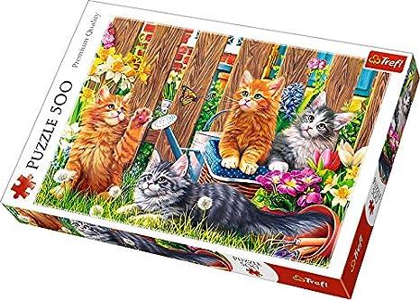 Trefl 37326 - Puzzle Modelo Gatos en el jardín, 500 Piezas: Amazon.es: Juguetes y juegos
