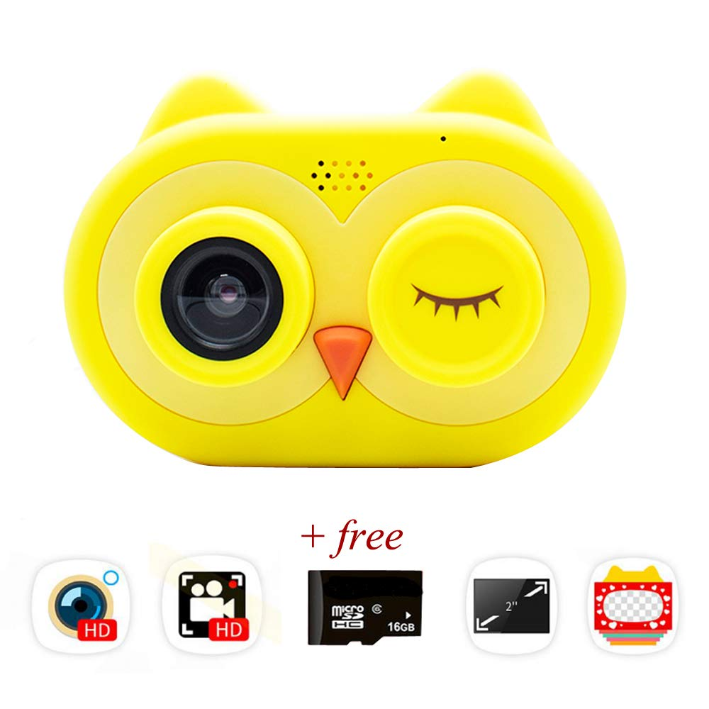 ISHOWStore Mini WiFi Camera for Children HD 8MP External SD Card Digital Video Shakeproof Camcorder for Children with Free 16G Memory Card 82x58x31mm (Yellow Owl)