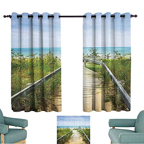 - DILITECK Sliding Curtains Seaside Decor Collection Boardwalk Over Dunes at Beach Pinery and Provincial Park Ontario Canada Holidays Picture Blackout Draperies for Bedroom Window W55 xL63 Green Ivory
