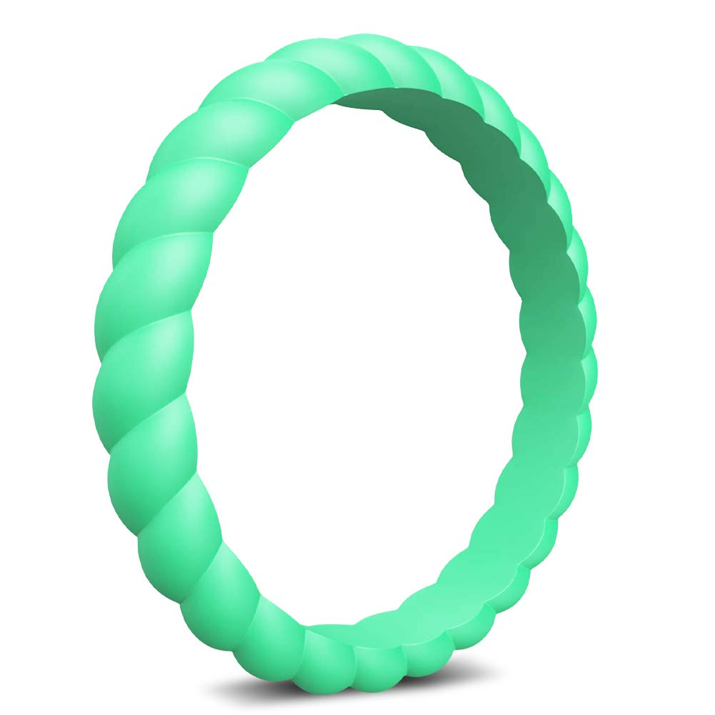 Wooany Silicone Wedding Ring for Women Designed for U.S 5/&7 Packs Thin and Stackable Silicone Ring Confortable and Skin Safe Rubber Wedding Bands for Women/&Kids