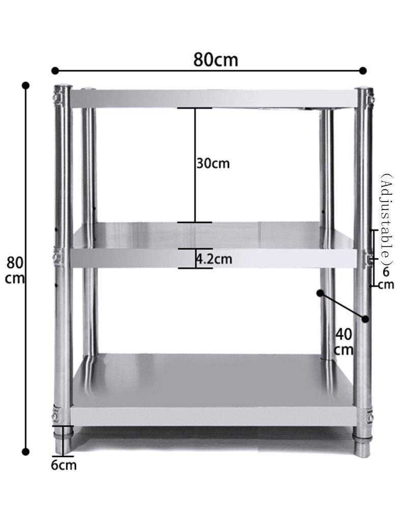 Unità di mensole HWF Scaffalature da cucina in acciaio inox a 3 livelli (dimensioni : 70 * 35 * 80cm) HWF Shop