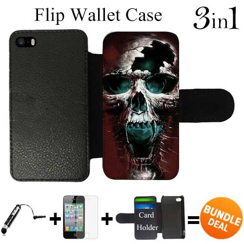 Scary Wicked Skull Custom iPhone 5 Wallet Cases/5S Wallet Cases,Bundle 3in1 Comes with Screen Protector/Universal Stylus Pen by innosub -