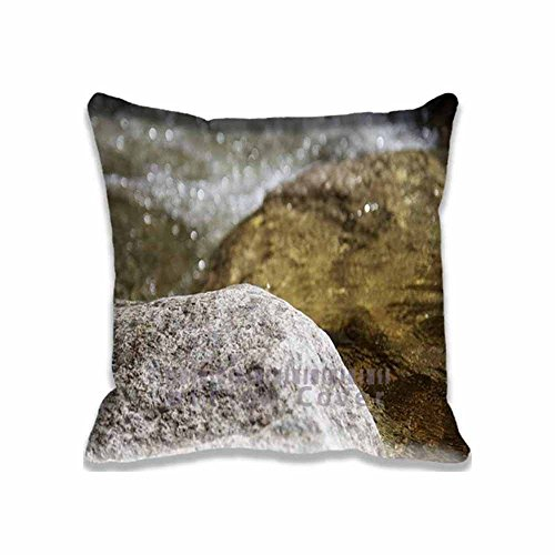Home Square Cotton Polyester Cushion Covers Water Rocks River Nature Bokeh Decorative Pillow Cases with Hidden Zippered Custom Throw Pillow Cover for Sofa Couch Bed 16X16inch