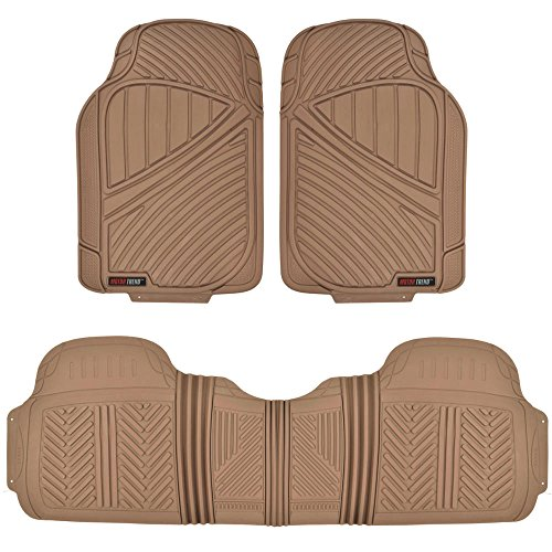 Motor Trend FlexTough Baseline - Heavy Duty Rubber Car Floor Mats, 100% Odorless & BPA Free, All Weather (Tan Beige) - MT773BGAMw1 (Car Mats That Cover The Whole Floor)