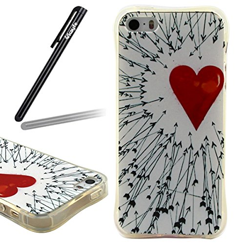 Funda Case iPhone 5/5S/SE silicona,Ukayfe Carcasa Espejo iPhone 5/5S/SE Mirror Case,Ultra fina de Tpu funda de silicona espejo brillante Cover Case, brillantes cristal Bling Gliter Espejo �?Carcasa de Amore Flak