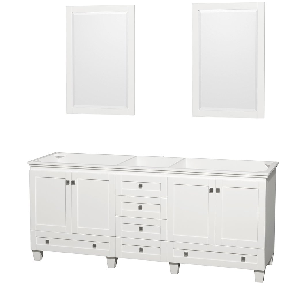 Wyndham Collection Acclaim 80 inch Double Bathroom Vanity in White, No Countertop, No Sinks, and 24 inch Mirrors