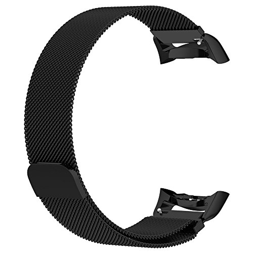 BaoKing Samsung Gear Fit 2 Pro Bands Milanese Loop Stainless Steel Band with Unique Magnet Clasp for Samsung Gear Fit 2 SM-R360 & Gear Fit 2 Pro SM-R365 Smart Watch (Black,S) by Super Baoking