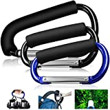 """3 Packs Grocery Bag Holder Handle Carabiners, FineGood 6.2"""" 5.1"""" Handy Extra-Large D-Shape Hooks Carrier Tool with Soft Foam Grip, for Shopping Bags Handbag Tote Stroller Accessories - Black, Blue"""