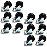 """12 Pack 2"""" Swivel Caster Wheels Rubber Base with Top Plate & Bearing Heavy Duty"""