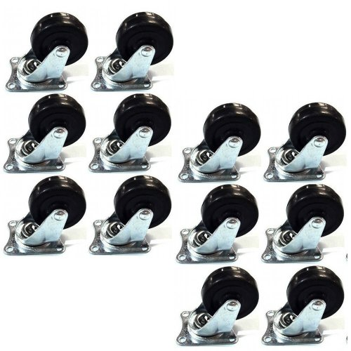 """24 Pack 2"""" Swivel Caster Wheels Rubber Base with Top Plate &"""