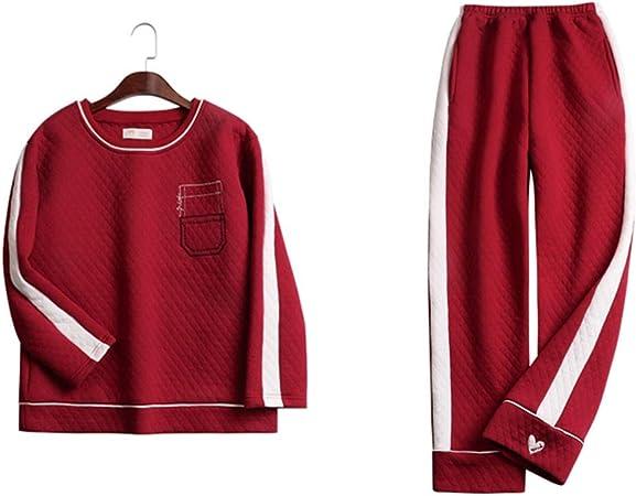Zjcpow Pijama de Mujer Pijamas de algodón de Las Mujeres Manga Larga Pijama Pantalones Pantalones de Pijama Dormir Set Ropa de Dormir Set Loungewear (Color : Red, Size : L): Amazon.es: Hogar