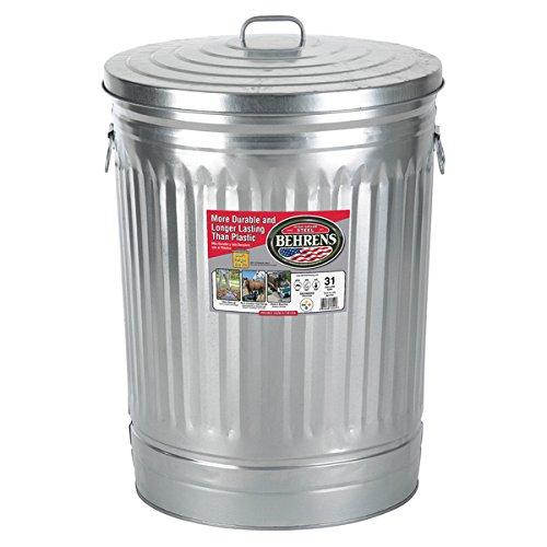 Behrens High Grade Steel 1270 31 Gal Silver Galvanized Steel Trash Can W/Lid (Galvanized Steel Cubes)