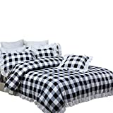 Black and White Duvet TEALP White and Black Bedding with 1 Duvet Cover 2 Pillowcases Plaid Duvet Cover Sets 3 Pieces King Size