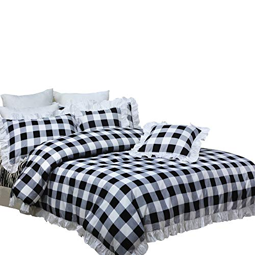 (TEALP White and Black Bedding with 1 Duvet Cover 2 Pillowcases Plaid Duvet Cover Sets 3 Pieces King Size)