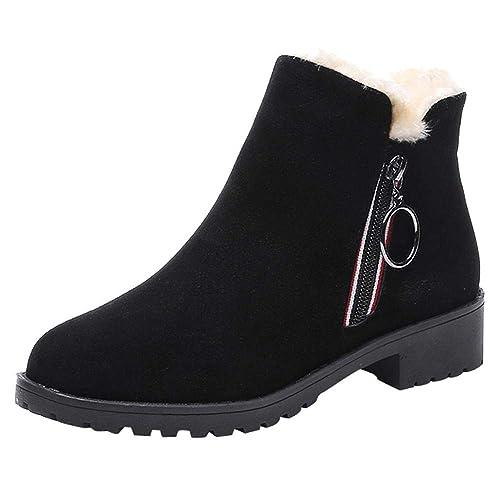 Logobeing Botines Mujer Planos Cuñas Botas de Nieve Calientes Tacones Suqare Ante Zapatos Cremallera (35