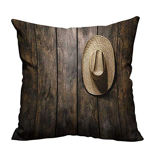 alsohome Decorative Throw Pillow Case American West Rodeo Country Farmer Traditional Straw hat Hanging on Wood Boards Cotton Linen Durable 27.5x27.5 inch(Double-Sided Printing)