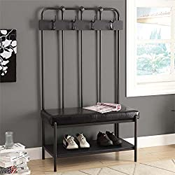 Monarch Metal Hall Entry Bench, 60-Inch, Charcoal Grey
