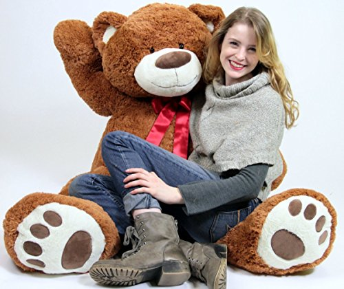 51JhV3ZlXoL - 5 Foot Very Big Smiling Teddy Bear Five Feet Tall Cookie Dough Brown Color with Bigfoot Paws Giant Stuffed Animal Bear
