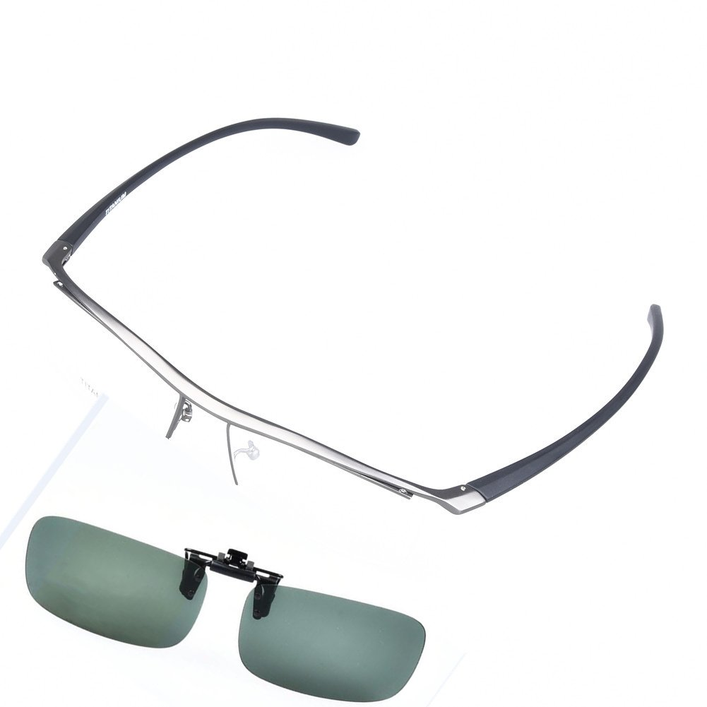 SO SMOOTH WIND Pure Titanium Glasses Frame Men Eyeglasses Eyewear Frame With Polarized Driving Clip-on (Grey color, Demo clear lens)