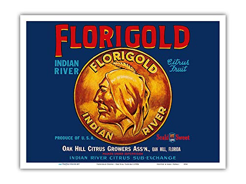 Pacifica Island Art - Florigold Groves - Indian River Citrus Fruit - Oak Hill, Florida - Vintage Fruit Crate Label c.1930s - Master Art Print - 9in x 12in