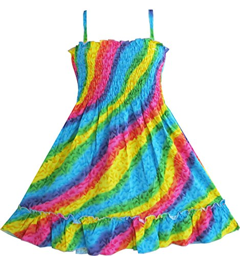 Q64 Girls Dress Rainbow Smocked Halter Children Clothing Sz (Halter Sundress Dress)