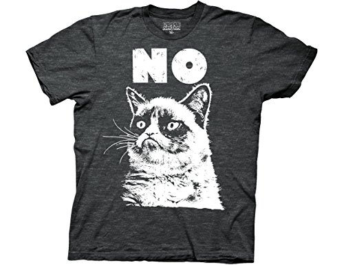Ripple Junction Grumpy Cat No Adult T-Shirt Small Charcoal Heather