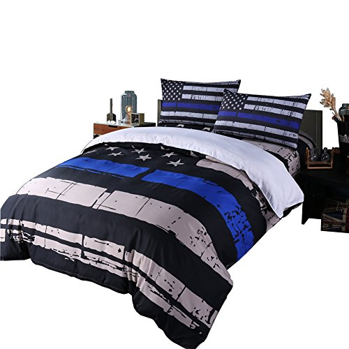 Rhap Quilts Cover Queen Size, American Flag Duvet Cover Set, 3pcs Bedspreads Queen Size Set, Blue Black Valor Patriot Theme Digital Printed Comforter Cover Matching 2 Pillowcases