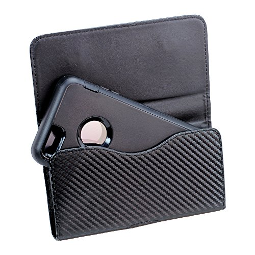 """XXL Size Samsung Galaxy S8 Plus 2017 6.2"""" Black Leather Belt Clip Pouch Case Cover Holster ( the phone with OTTER BOX Defender / LIFEPROOF / Mophie Juice Pack Air/Plus Case On)"""