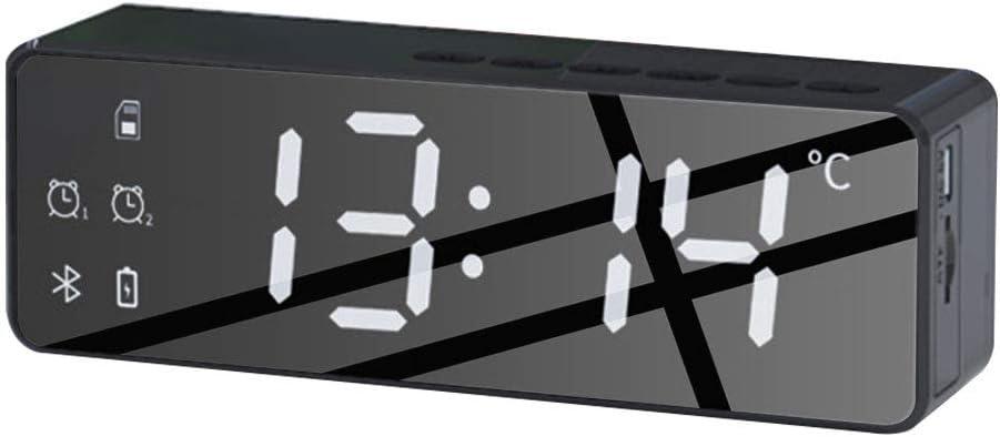 LEAMER 5.0 Altavoz Bluetooth Inal/ámbrico 2 Modos Despertador Radio FM para Home Office 1400mAh Pantalla LED Soporte Tarjeta TF Recargable USB
