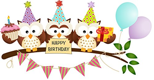 Owls Happy Birthday Edible Cake Image Topper 8 Inch Round -