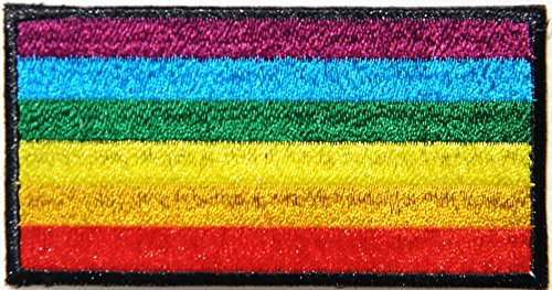 Rainbow Flag Lesbian Gay LGBT Bisexual Transgender Symbol Logo Sign Badge Uniform Jacket T-shirt Patch Sew Iron on Embroidered Applique Costume (3