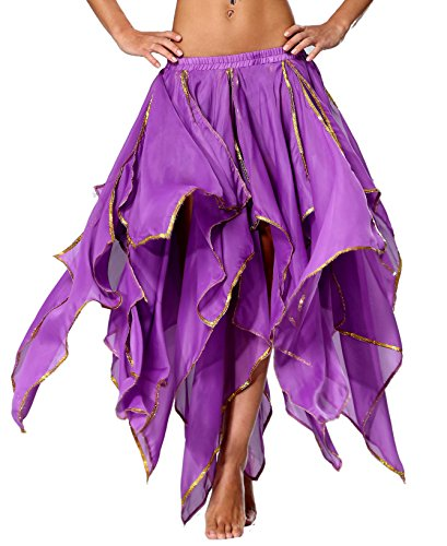 Seawhisper Long Purple Renaissance Fairy Costume for Women Chiffon Belly Dance Skirt with Side Slit