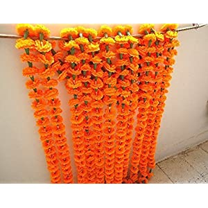 Nexxa Orange artificial tagetes flower marigold strings for wedding decorations or party decoration, Indian event décor, home decor, beach party decor 31