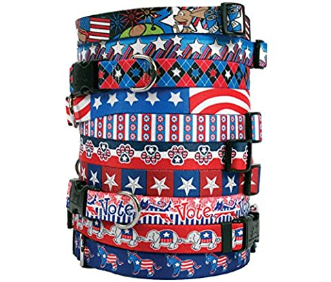 Patriotic USA Dog Collar - with Tag-A-Long ID Tag System - GOP Republican - Large 18 to 28 inch (V3 Watch Phone)